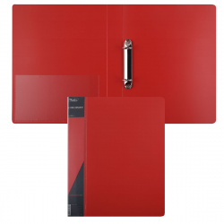 Папка на кольцах А4, пластик, ширина корешка 40мм, красный Standart Hatber 24AB4_00115