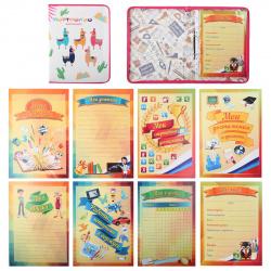 Папка-портфолио школьника карт лам 2 кольца А4 8 вкладышей на молнии Цветные ламы ПТШ-1