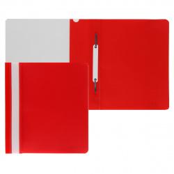 Папка-скоросшиватель с прозрачным верхним листом А5, пластик, сменная этикетка, цвет красный KLERK 211903
