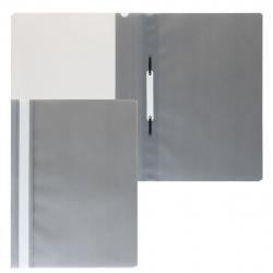 Папка-скоросшиватель с прозрачным верхним листом А4, пластик, сменная этикетка, цвет серый KLERK 211910