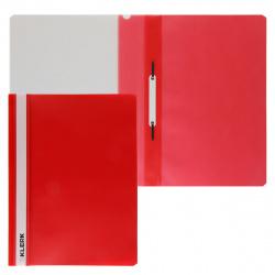 Папка-скоросшиватель с прозрачным верхним листом А4, пластик, сменная этикетка, цвет красный KLERK 211906