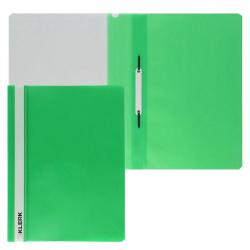 Папка-скоросшиватель с прозрачным верхним листом А4, пластик, сменная этикетка, цвет зеленый KLERK 211914
