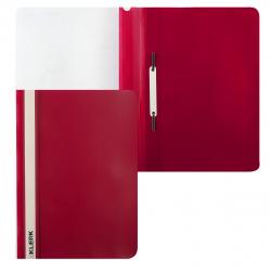 Папка-скоросшиватель с прозрачным верхним листом А4, пластик, сменная этикетка, цвет красный KLERK 211913