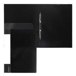 Папка-скоросшиватель пласт/метал с карм 0,70мм 16мм торц карм KLERK 190939 черн