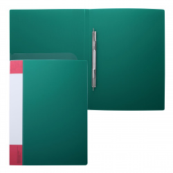 Папка-скоросшиватель пласт/метал с карм 0,70мм 16мм торц карм KLERK 190941 зел