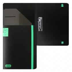 Папка с зажимом Monochrome А4, пластик, 1 зажим, цвет черный/зеленый deVENTE 3110904