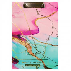 Планшет с зажимом А4, ламинированный картон, цвет рисунок Pink Marble Pin deVENTE 3034908