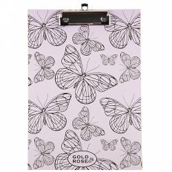 Планшет с зажимом А4, ламинированный картон, цвет розовый Gold Rose Butterfly deVENTE 3034902