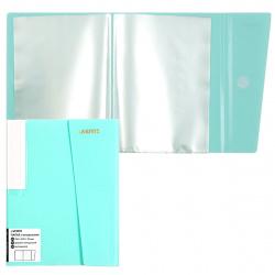 Папка 20 файлов А5 0,50мм торц карм липучка deVENTE Pastel 3101804 н/прозр бирюз