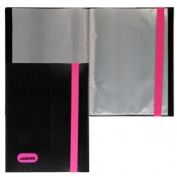 Папка 20 файлов, А5, пластик, цвет черный/розовый Monochrome deVENTE 3101926