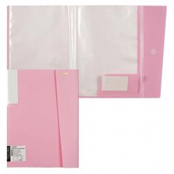 Папка 20 файлов А3 0,50мм 18мм торц карм липучка deVENTE Pastel 3101807 н/прозр роз