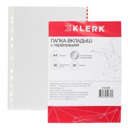 Файл А4, плотность 30мкм, 50шт, поверхность глянцевая Премиум KLERK 212426