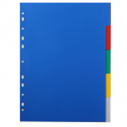 Разделитель А4 без индексации 5цв 5 л пластик Attomex 3051510