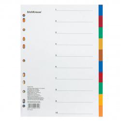 Разделитель А4 цифровой 1-10 5цв пластик Erich Krause 2715