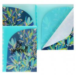 Папка-уголок А4, пластик, толщина пластика 0,18мм, цвет рисунок Листья Феникс 48296