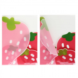Папка-уголок А4, пластик, толщина пластика 0,25мм, цвет рисунок Клубника Феникс 52584