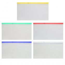 Папка на молнии ПВХ А6 (148*265мм) 0,18мм KLERK KL/BPMA6 прозрачная цветная молния
