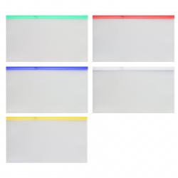 Папка на молнии ПВХ А5 (196*250мм) 0,18мм KLERK KL/BPMA5 прозрачная цветная молния
