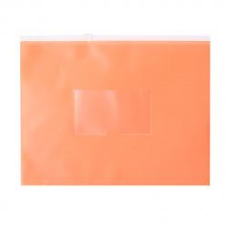 Папка на молнии ПВХ А5 (195*250мм) 0,15мм карм д/визитки DNEBPV5AOR/1126084 оранж неон