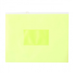 Папка на молнии ПВХ А5 (195*250мм) 0,15мм карм д/визитки DNEBPV5AYEL/1126083 желт неон