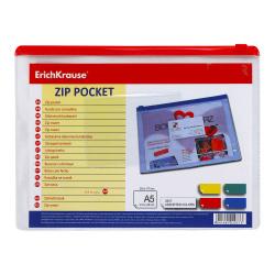 Папка на молнии ПВХ В5 (175*240мм) 0,18мм карм д/визитки РVC EK 2937 прозр