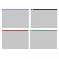 Папка на молнии А4, 242*335мм, ПВХ, цвет ассорти, ассорти 4 вида Fizzy Clear Erich Krause 50326