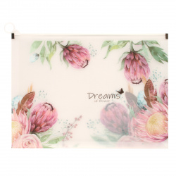 Папка на молнии ПВХ А4 (245*330*30мм) 0,18мм КОКОС Spring Flowers 209110