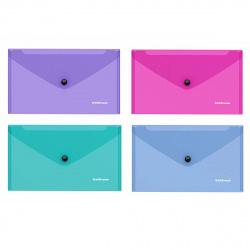 Папка конверт на кнопке Vivid С6 (130*223мм), пластик полупрозрачный, цвет ассорти Erich Krause 47122
