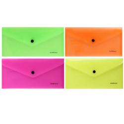 Папка-конверт на кноп А6 (130*255) 0,18мм Erich Krause Glossy Neon Travel 50304 п/прозр ассорти 4 вида