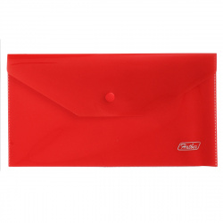 Папка конверт на кнопке А6 (120*220мм), пластик полупрозрачный, цвет красный Hatber AKk6_00003