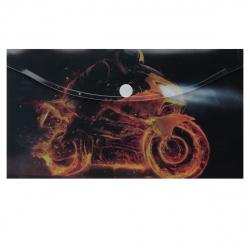 Папка конверт на кнопке Огонь А6 (125*225мм), пластик, цвет рисунок КОКОС 205709