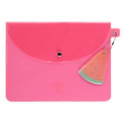 Папка конверт на кнопке Арбуз А5 (170*230мм), ПВХ, цвет розовый Феникс 52571