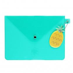 Папка конверт на кнопке Ананас А5 (170*230мм), ПВХ, цвет зеленый Феникс 52572