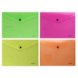 Папка-конверт на кноп B5 (229*282мм) 0,18мм Erich Krause 50302 полупрозрачная ассорти 4 вида