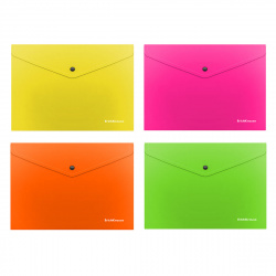 Папка-конверт на кноп А5+ (190*240мм) 0,18мм Erich Krause Glossy Neon 50305 полупрозрачная ассорти 4 вида