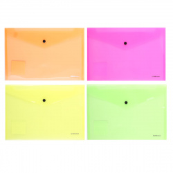 Папка-конверт на кноп А4 (232*333мм) 0,18мм Erich Krause Glossy Neon 50300 полупрозрачная ассорти 4 вида
