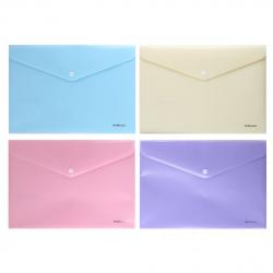 Папка-конверт на кноп А4 (232*333мм) 0,18мм Erich Krause Diagonal Pastel 50323 непрозрачная ассорти 4 вида
