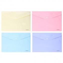 Папка-конверт на кноп А4 (232*333мм) 0,18мм Erich Krause Diagonal Pastel 50322 непрозрачная ассорти 4 вида