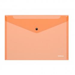 Папка-конверт на кноп А4 (232*333мм) 0,18мм Erich Krause Glossy Neon 50307 полупрозрачная оранжевая