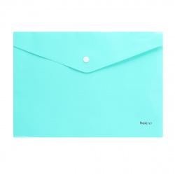 Папка-конверт на кноп А4 (235*330мм) 0,18мм Hatber NEWtone Pastel AKк4_05039 непрозрачная мята (с един штрихк)