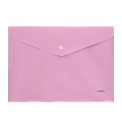 Папка-конверт на кноп А4 (235*330мм) 0,18мм Hatber NEWtone Pastel AKк4_05018 непрозрачная пион (с един штрихк)