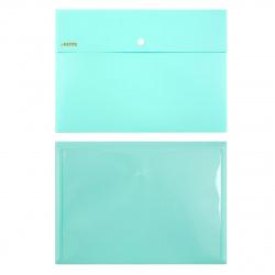 Папка-конверт на кноп А4 (230*320мм) 0,35мм с карм deVENTE Pastel 3071852 непрозрачная бирюзовая