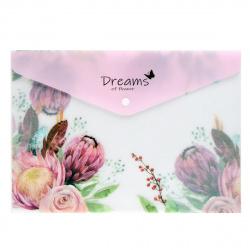 Папка-конверт на кнопке А4 (235*330мм) 0,17мм КОКОС Spring Flowers 209103 полупрозрачная с рисунком