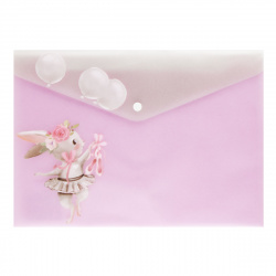 Папка-конверт на кнопке А4 (235*330мм) 0,17мм КОКОС Bunny 209106 полупрозрачная с рисунком