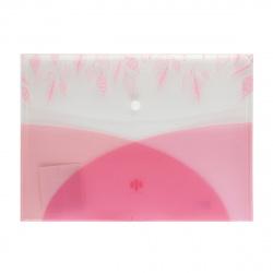 Папка конверт на кнопке Листва А4 (235*325мм), пластик прозрачный, цвет розовый Феникс 48291