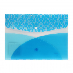 Папка конверт на кнопке Волны А4 (235*325мм), пластик прозрачный, цвет синий Феникс 48290