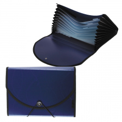 Папка на резинке 12 отделений, А4, пластик, 0,70мм, 30мм, цвет синий inФОРМАТ NL6970-12B