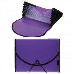 Папка на резинке 12 отделений, А4, пластик, 0,70мм, 30мм, цвет фиолетовый inФОРМАТ NL6970-12V
