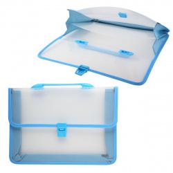Папка-портфель 2отд 0,6мм 80мм Deli EB50232 голубой