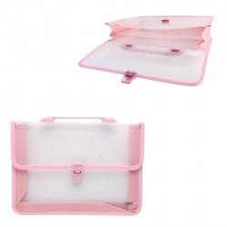Папка-портфель 2отд 0,6мм 80мм Deli EB50242 розовый